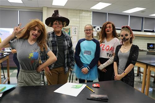 High School students dressed in Halloween costumes