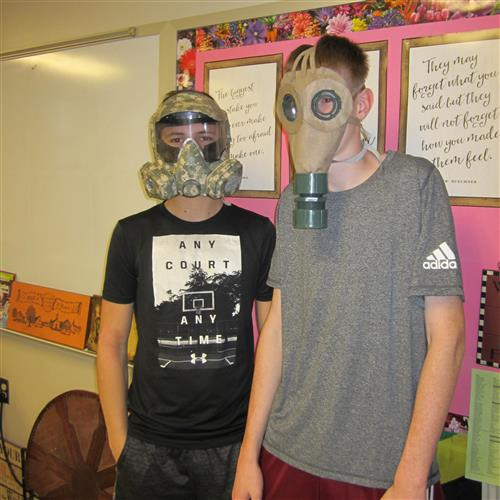 students in gas mask projects