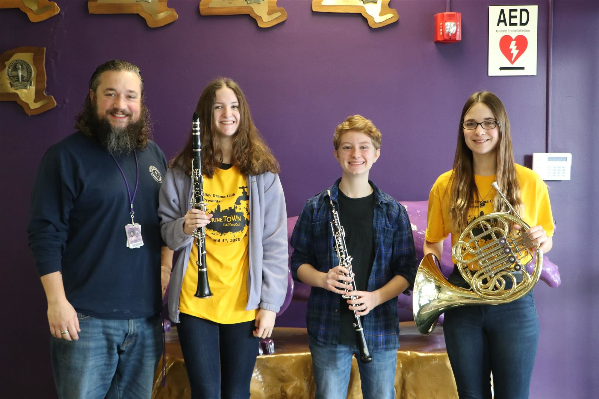 Band Teacher Roger Chagnon with All County Band students
