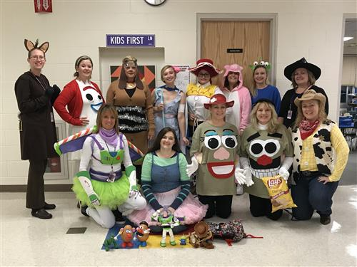 K-2 Teachers Dressed as Toy Story Characters