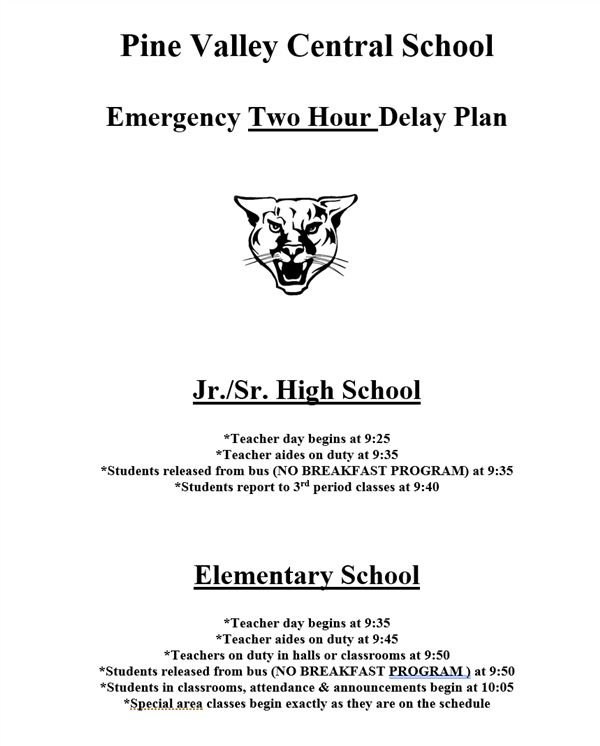 Emergency TWO HOUR DELAY Plan