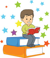 Clip art of brown haired boy sitting on a stack of books while reading a book.