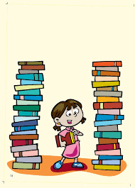 Child standing between two tall stacks of books.
